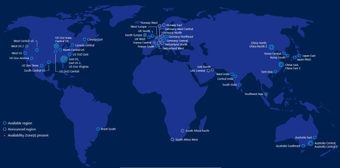 Azure worldwide coverage